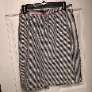 "J crew ""the pencil skirt"" seersucker pencil skirt"